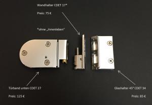 Türbeschlag für 5-Eck-Dusche Kienle III